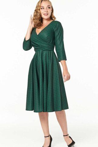 Sheen Clothing Polkadot Kleid Genevieve mit 3/4 Ärmeln von Rockabilly Rules
