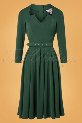 TopVintage exclusive ~ 50s Penny-Lee Swing Dress in Emerald