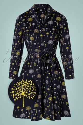 TopVintage exclusive ~ 60s Emilia Discoflower Dress in Navy