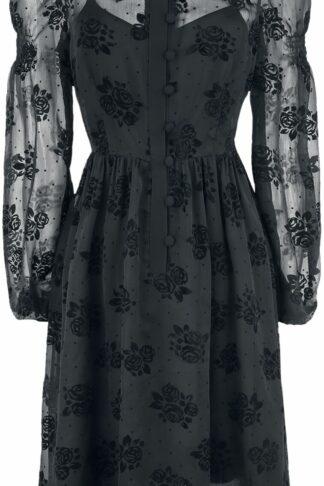 Voodoo Vixen - Blanca Chiffon Rose Flocking Dress - Kleid knielang - schwarz