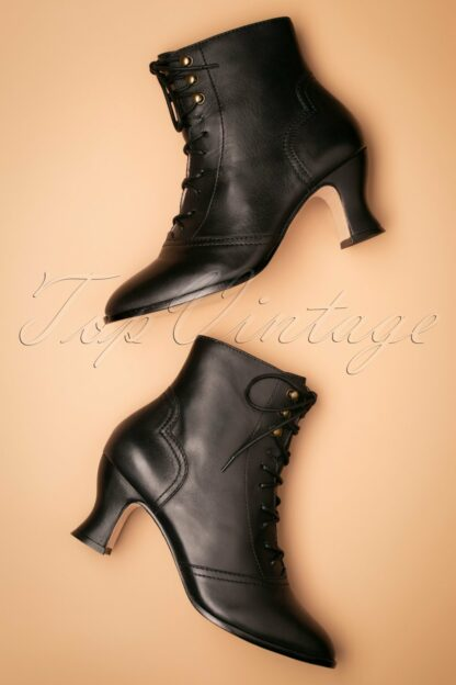 40s Alexa Lace Up Booties in Black