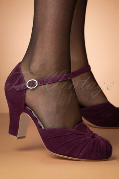 40s Amber Suede Mary Jane Pumps in Damson Burgundy