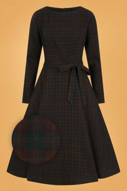 40s Arwen Woodland Pine Check Swing Dress in Brown