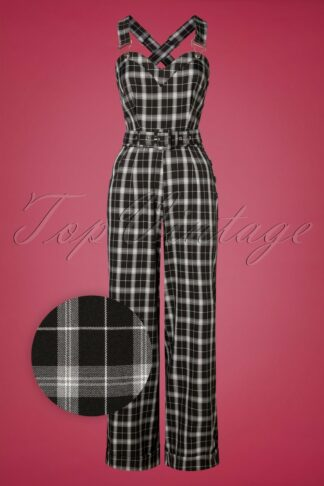 40s Bloom Plaid Jumpsuit in Black