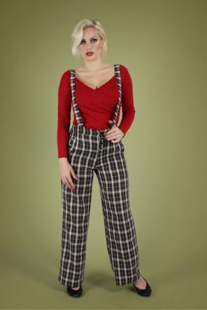 40s Cassie Trousers with Braces in Black Check