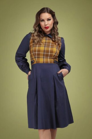 40s Dawna Swing Dress in Navy and Mustard