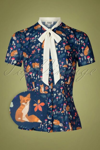 40s Elsie Woodland Critters Blouse in Blue