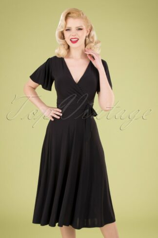 40s Irene Cross Over Swing Dress in Black