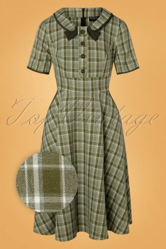 40s Kaylee Tartan Swing Dress in Khaki