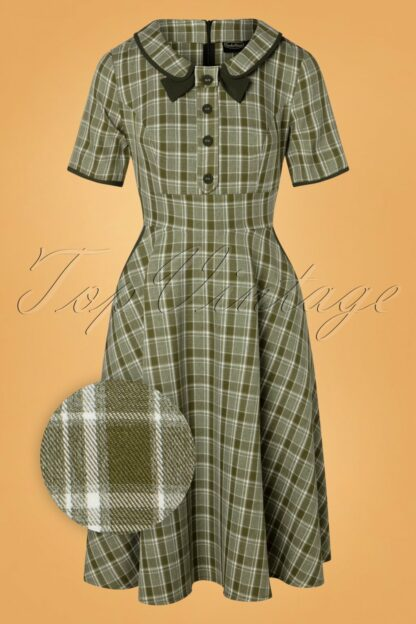 40s Kaylee Tartan Swing Dress in Khaki