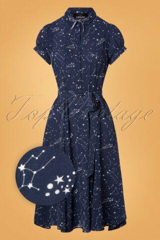 40s Mary Grace Zodiac Constellation Swing Dress in Blue