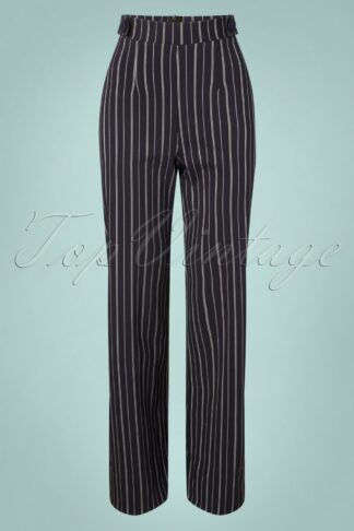 40s Viola Wide Pinstripe Trousers in Navy and White