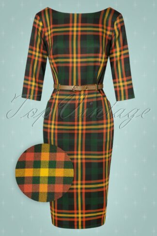 50s Adeline Valley Check Pencil Dress in Multi