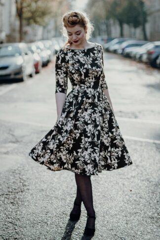 50s Adriana Roses Long Sleeve Swing Dress in Black