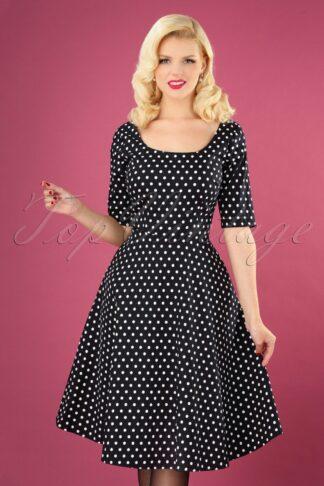 50s Amber Polkadot Swing Dress in Black