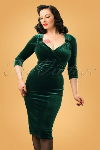 50s Annabelle Velvet Pencil Dress in Dark Green