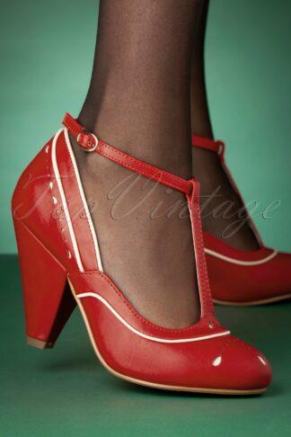 50s Annie T-Strap Pumps in Red