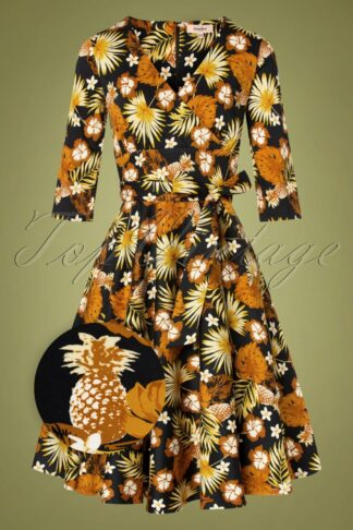 50s Barbara Floral Swing Dress in Black and Gold