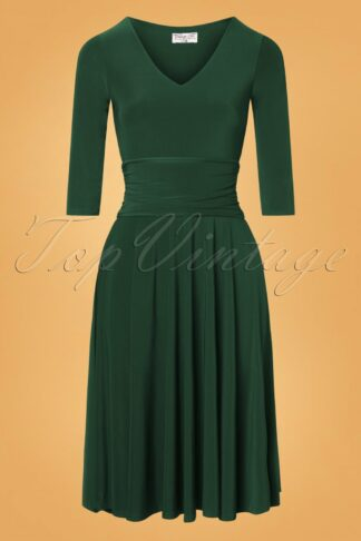 50s Betricia Swing Dress in Forest Green