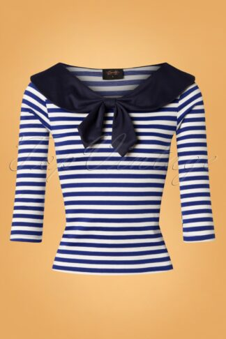 50s Betsy Stripes Tie Top in Blue and White