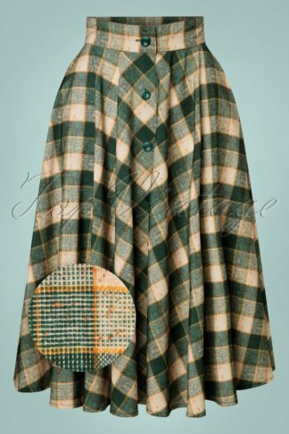 50s Beverly Button Swing Skirt in Green Check
