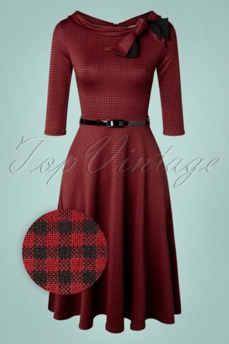50s Beverly Check Swing Dress in Red and Black