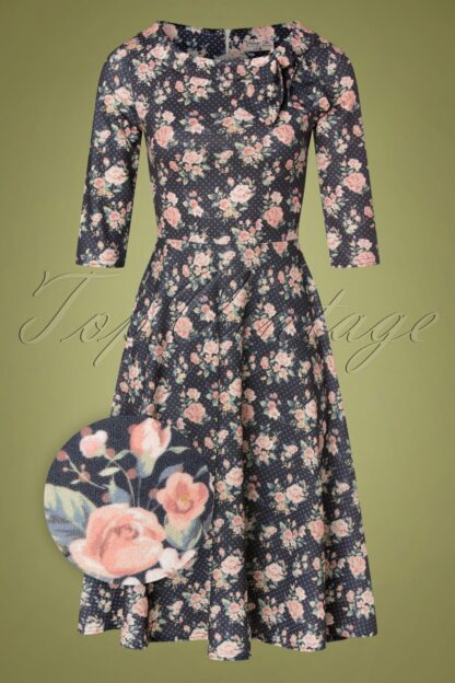 50s Beverly Floral Swing Dress in Grey