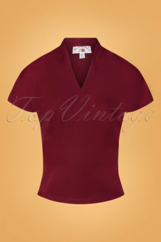 50s Birdie Rose Top in Wine