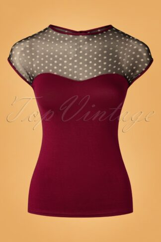 50s Brandy Polkadot Top in Burgundy