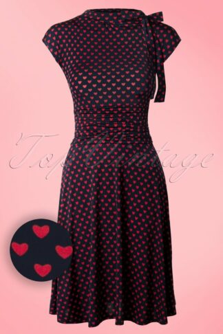 50s Bridget Heart Bombshell Dress in Navy and Red