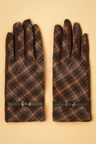 50s Buckle Gloves in Brown Plaid