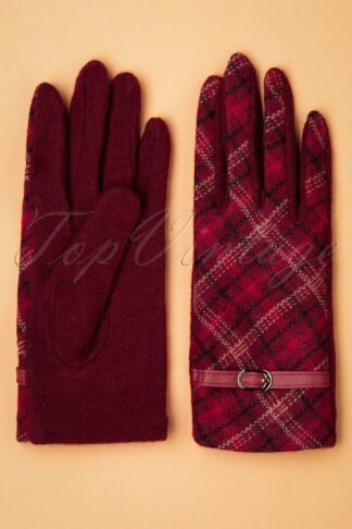 50s Buckle Gloves in Red Plaid