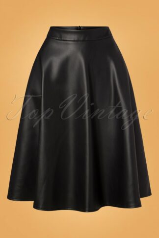 50s Bushra Faux Leather Swing Skirt in Black
