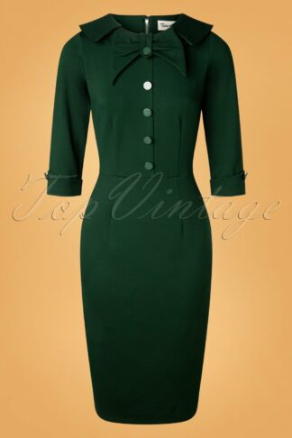 50s CEO Pencil Dress in Hunter Green