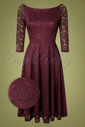 50s Cali Lace Swing Dress in Aubergine