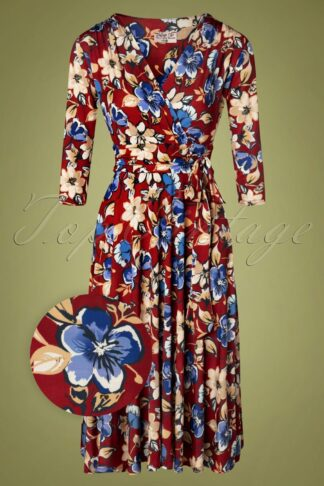 50s Caryl Floral Swing Dress in Red
