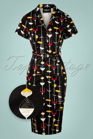 50s Caterina Atomic Pencil Dress in Black
