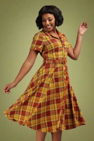 50s Caterina Autumn Leaves Check Swing Dress in Mustard and Orange