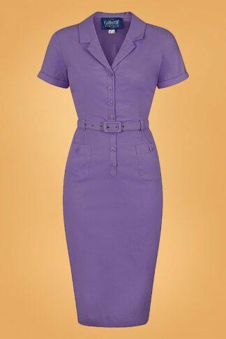 50s Caterina Pencil Dress in Purple