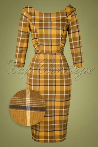50s Cheyenne Moonhill Check Pencil Dress in Mustard