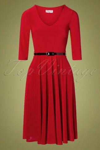50s Cora Swing Dress in Dark Red