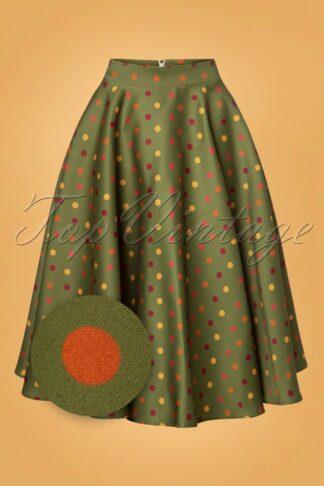 50s Diana Polkadot Swing Skirt in Green