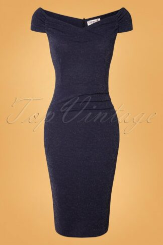 50s Donna Glitter Pencil Dress in Night Blue