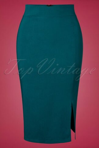 50s Eleonora Pencil Skirt in Teal Blue