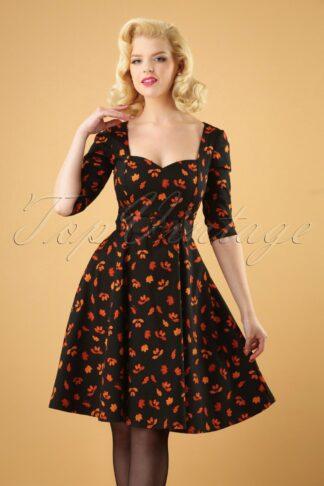 50s Eliana Acorn Swing Dress in Black