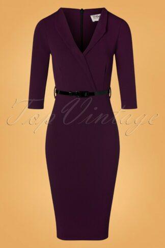 50s Emery Pencil Dress in Aubergine