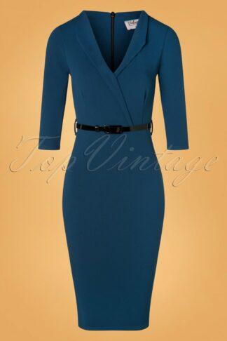 50s Emery Pencil Dress in Petrol Blue