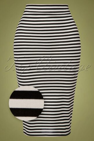 50s Faith Striped Pencil Skirt in Black and White