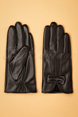 50s Faux Leather Bow Gloves in Matte Black