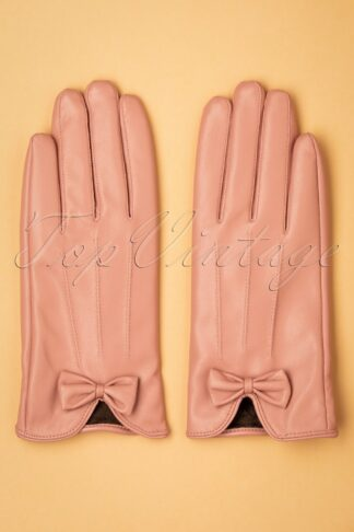 50s Faux Leather Bow Gloves in Matte Pink